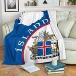 1stIceland Premium Blanket, Ísland Map Coat Of Arms TH0 - 1st Iceland