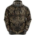 1stIceland Viking Pullover Hoodie, Odin Fenrir Skoll And Hati Th5 - 1st Iceland