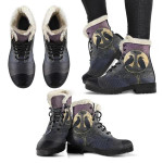 1stIceland Viking Faux Fur Leather Boots, Odin's Mjolnir Ravens Yggdrasil K5 - 1st Iceland