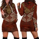 1stIceland Viking Hoodie Dress, Odin's Ravens Celitc Cross K4 - 1st Iceland