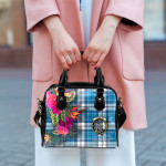 TartanClans Women's Handbag, Roberton Tartan Hibiscus Shoulder Handbag
