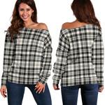 TartanClans Scott Black & White Ancient  Women's Off Shoulder Sweater