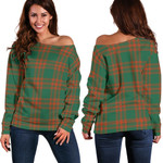 TartanClans Menzies Green Ancient  Women's Off Shoulder Sweater