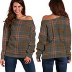 TartanClans Kennedy Weathered  Women's Off Shoulder Sweater