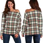 TartanClans Stewart Dress Ancient  Women's Off Shoulder Sweater