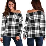 TartanClans Macfarlane Black & White  Women's Off Shoulder Sweater