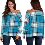 TartanClans Turquoise MacKellar  Women's Off Shoulder Sweater