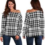 TartanClans Scott Black & White Modern  Women's Off Shoulder Sweater