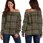 TartanClans Stewart Hunting Weathered  Women's Off Shoulder Sweater