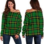 TartanClans Wallace Hunting, Green  Women's Off Shoulder Sweater