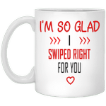 Couple gifts - I'm so gald I swiped right for you tinder couple mug - GST