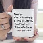 Valentine's Day Mug Gifts For Her Dear Wife Thanks For Being My Wife - Graphic Design - White Mug
