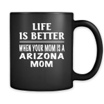 Life Is Better When Your Mom Is A Arizona Mom - Full-Wrap Coffee Black Mug