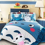 My Neighbor Totoro Bed Set Blue Totoro And Chibi Totoro Bedding Anime Gift For Fans