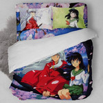 Inuyasha Bed Set Romantic Kagome And Inuyasha Bedding Anime Gift For Fans