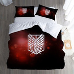 Attack On Titan Bed Set Red Survey Corps Anime Gift For Fans