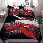 Inuyasha Bed Set Red Inuyasha Bedding Anime Gift For Fans