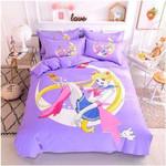 Sailor Moon Bed Set Purple Usagi Bedding Anime Gift For Fans
