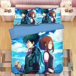 My Hero Academia Bed Set Midoriya Izuku and Ochaco Uraraka Bedding Anime Gift For Fans