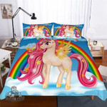 Pink Unicorn & Rainbow 3D Customize Bedding Set Duvet Cover SetBedroom Set Bedlinen , Comforter Set