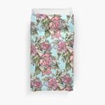Red Trumpet Vine Flowers On Blue 3D Personalized Customized Duvet Cover Bedding Sets Bedset Bedroom Set , Comforter Set