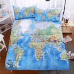 World Map 3D Customize Bedding Set Duvet Cover SetBedroom Set Bedlinen , Comforter Set