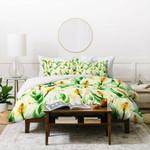 Marta Barragan Camarasa White Watercolor Exotic Flowers Duvet Cover , Comforter Set