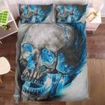 Blue Smoke Skull 3D Personalized Customized Bedding Sets Duvet Cover Bedroom Sets Bedset Bedlinen , Comforter Set