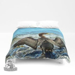 3D Cormorant Dries off in front of the Sea Duvet Cover Bedding Sets , Comforter Set
