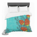 "Nanditaingh ""Red Flowers"" Blue Orange Cotton3D Customize Bedding Set Duvet Cover SetBedroom Set Bedlinen , Comforter Set"
