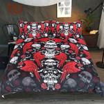 kull With WingsRoses Gothic Hippie Red Black White Adults Bedspread Vintage et3D Customize Bedding Set Duvet Cover SetBedroom Set Bedlinen , Comforter Set