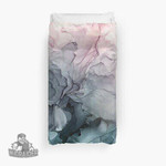 Blush And Payne'S Grey Flowing Abstract Painting 3D Personalized Customized Duvet Cover Bedding Sets Bedset Bedroom Set , Comforter Set