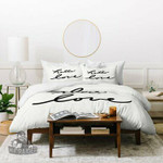Lisa Argyropoulos Hello Love On White Duvet Cover Bedding Sets , Comforter Set