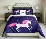 Pinky Haired White Unicorn On Dark Blue Background  kings3D Customize Bedding Set Duvet Cover SetBedroom Set Bedlinen , Comforter Set