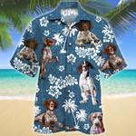 German Shorthaired Pointer Blue Tribal Pattern Hawaiian Shirt