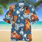 Dogue de Bordeaux Dog Blue Tribal Pattern Hawaiian Shirt