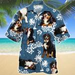 Bernese Mountain Dog Blue Tribal Pattern Hawaiian Shirt