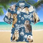 Owl Blue Tribal Pattern Hawaiian Shirt
