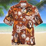 Bloodhound Dog Red Tribal Pattern Hawaiian Shirt
