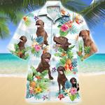 Chesapeake Bay Retriever Dog Tropical Flower Hawaiian Shirt