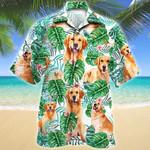 Golden Retriever Dog Tropical Plant Hawaiian Shirt