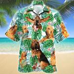 Bloodhound Dog Tropical Plant Hawaiian Shirt
