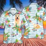 Golden Retriever Dog Lovers Striped Hawaiian Shirt