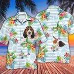 Basset Hound Dog Lovers Striped Hawaiian Shirt