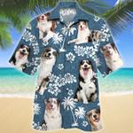 Australian Shepherd Dog Blue Tribal Pattern Hawaiian Shirt