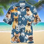 French Bulldog Dog Lovers Blue Tribal Pattern Hawaiian Shirt