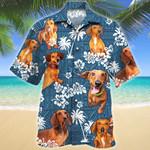 Dachshund Dog Lovers Blue Tribal Pattern Hawaiian Shirt