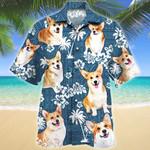 Welsh Corgi Dog Lovers Blue Tribal Pattern Hawaiian Shirt