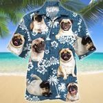 Pug Dog Lovers Blue Tribal Pattern Hawaiian Shirt