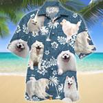 American Eskimo Dog Blue Tribal Pattern Hawaiian Shirt